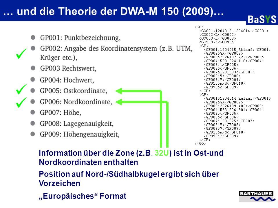 ETRS89/UTM und die Theorie von ISYBAU XML … Info zu Zone/Koordinatensystem NRW: Altbestand nach ISYBAU K/LK + GK Neue Daten nach ISYBAU XML + UTM alle Liegenschaften des Bundes in einer Zone Umrechnung ISYBAU (K,LK) mit GK ISYBAU (K,LK) mit UTM mit Hilfe TRABBI (VA NRW) 2.399.340,601 5.928.794,177 Katasterämter haben seit 2010 landesweit auf ALKIS umgestellt Fachapplikationen können z.T noch nicht Transformation erbringen (uneinheitliche Bezugsgrundlage) Rücktransformation NAS nach GK (Flurstücke) Hessen: übrigen Bundesländer ziehen mit NRW/Hessen Vorgehen aktuell nicht mit Zukünftig Erweiterung ISYBAU XML-Format im Zusammenhang mit weiteren Änderungen