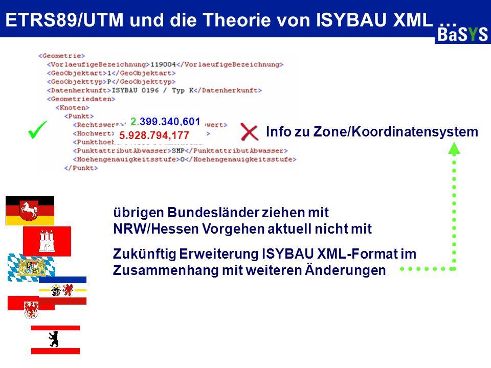 ETRS89/UTM und die Theorie von ISYBAU XML … Info zu Zone/Koordinatensystem NRW: Altbestand nach ISYBAU K/LK + GK Neue Daten nach ISYBAU XML + UTM alle