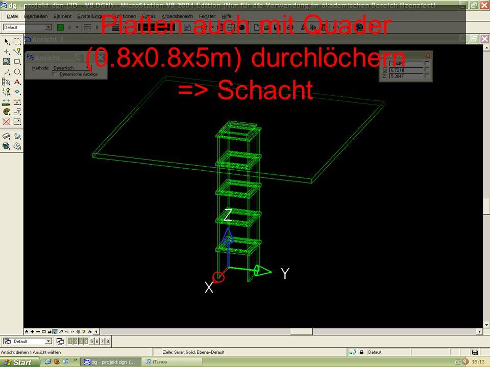 Platten auch mit Quader (0.8x0.8x5m) durchlöchern => Schacht