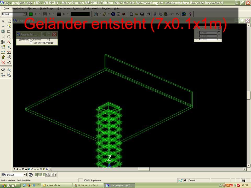 Geländer entsteht (7x0.1x1m)