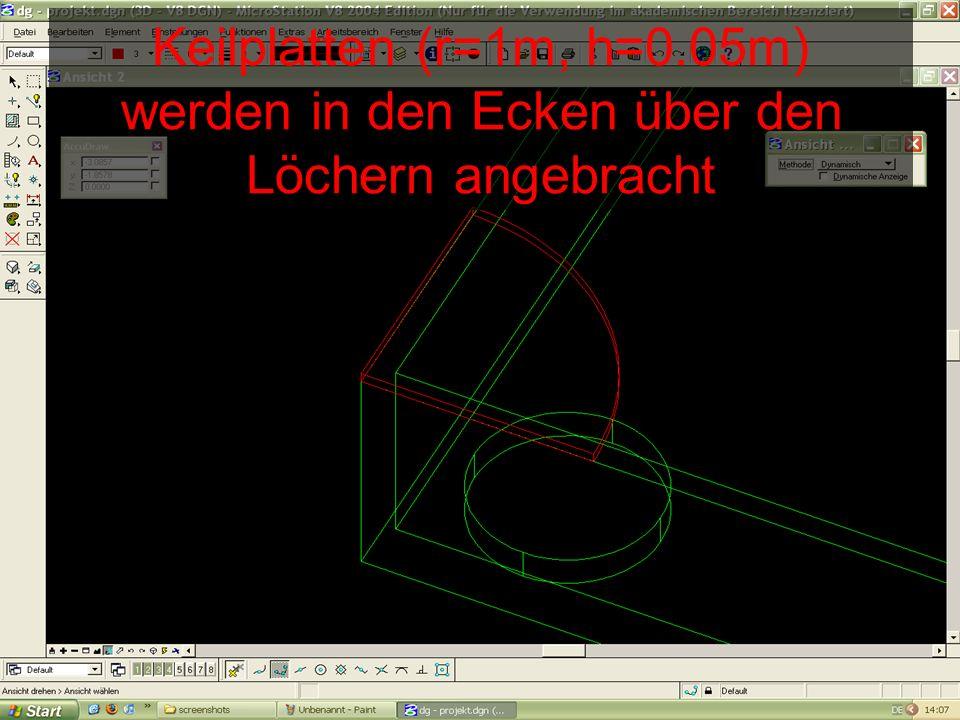Keilplatten (r=1m, h=0.05m) werden in den Ecken über den Löchern angebracht