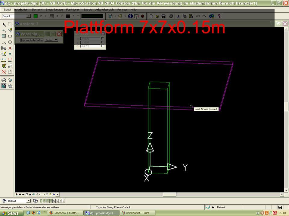 Ein Geländer (h=0.3m) wird angebracht