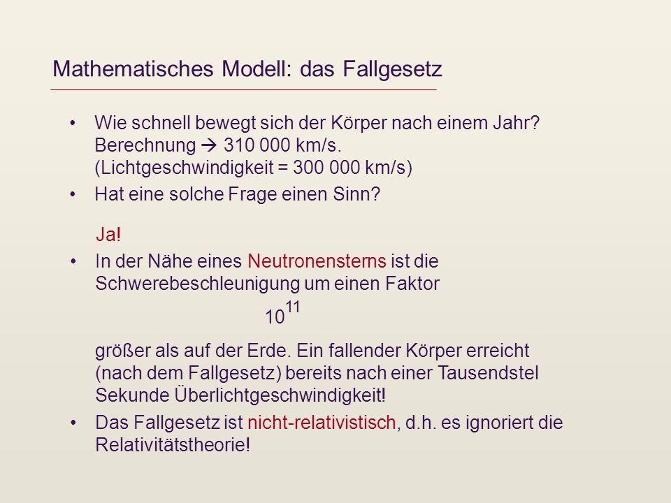 Mathematisches Modell: das Fallgesetz Wie schnell bewegt sich der Körper nach einem Jahr? Berechnung 310 000 km/s. (Lichtgeschwindigkeit = 300 000 km/