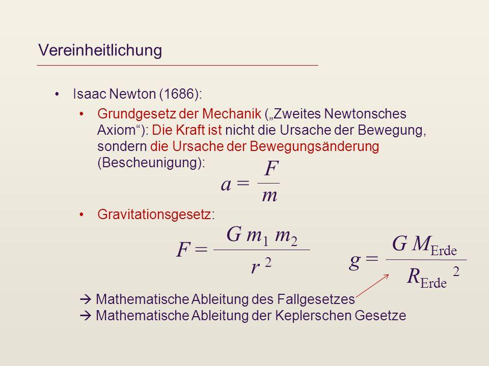Vereinheitlichung Isaac Newton (1686): Grundgesetz der Mechanik (Zweites Newtonsches Axiom): Die Kraft ist nicht die Ursache der Bewegung, sondern die