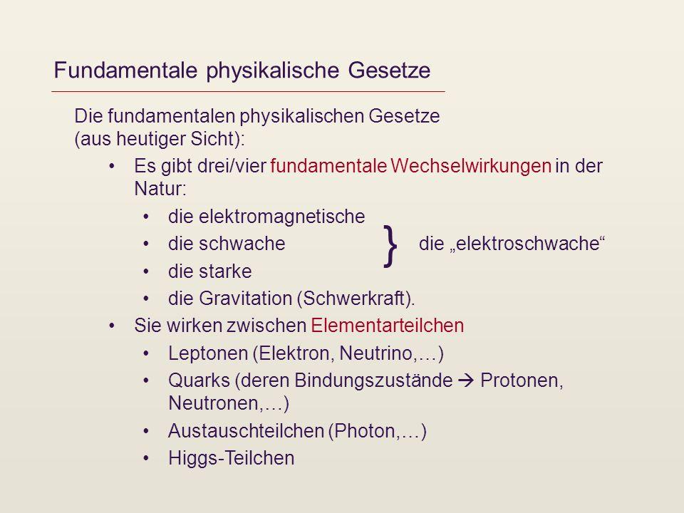 Fundamentale physikalische Gesetze Die fundamentalen physikalischen Gesetze (aus heutiger Sicht): Es gibt drei/vier fundamentale Wechselwirkungen in d