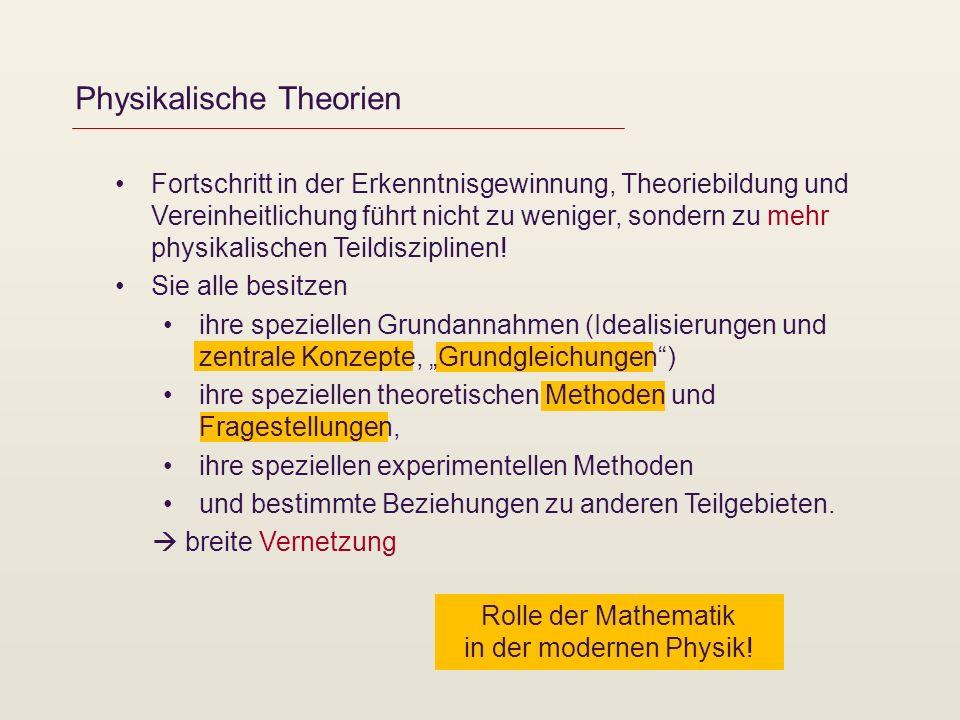 Rolle der Mathematik in der modernen Physik! Physikalische Theorien Fortschritt in der Erkenntnisgewinnung, Theoriebildung und Vereinheitlichung führt