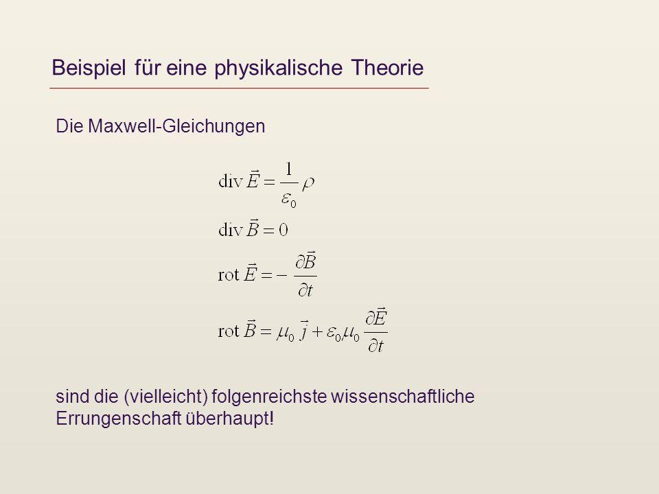 Beispiel für eine physikalische Theorie Die Maxwell-Gleichungen sind die (vielleicht) folgenreichste wissenschaftliche Errungenschaft überhaupt!