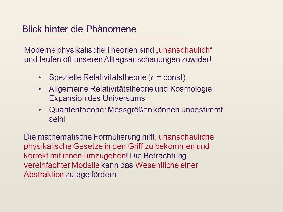 Blick hinter die Phänomene Moderne physikalische Theorien sind unanschaulich und laufen oft unseren Alltagsanschauungen zuwider! Spezielle Relativität
