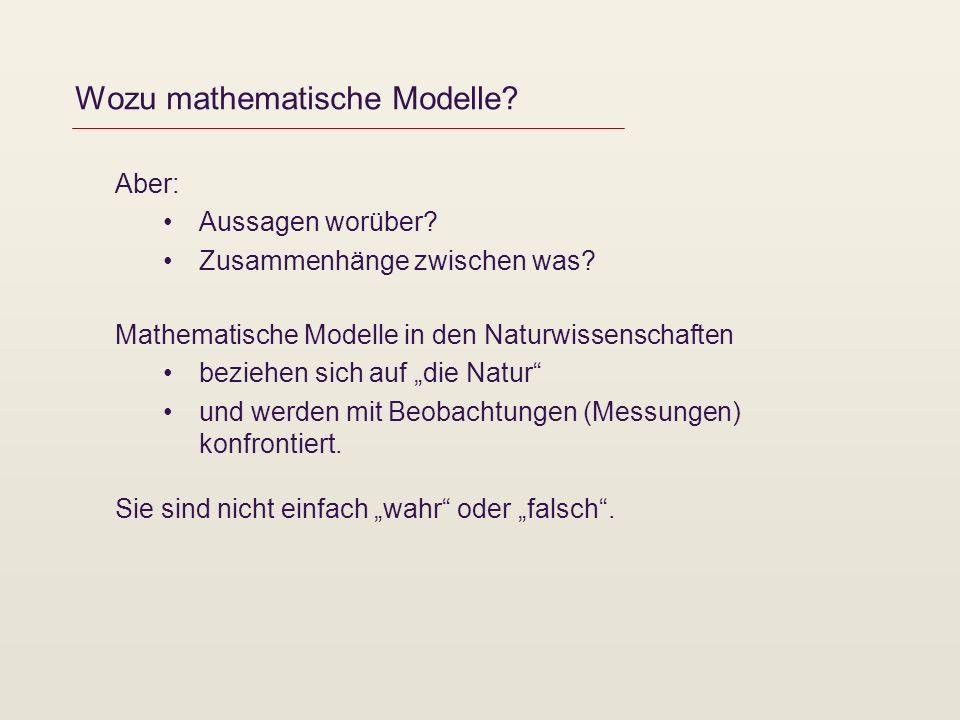 Wozu mathematische Modelle? Aber: Aussagen worüber? Zusammenhänge zwischen was? Mathematische Modelle in den Naturwissenschaften beziehen sich auf die