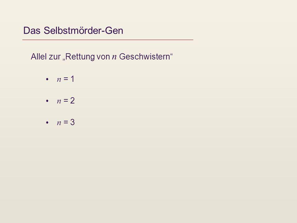 Das Selbstmörder-Gen Allel zur Rettung von n Geschwistern n = 1 n = 2 n = 3