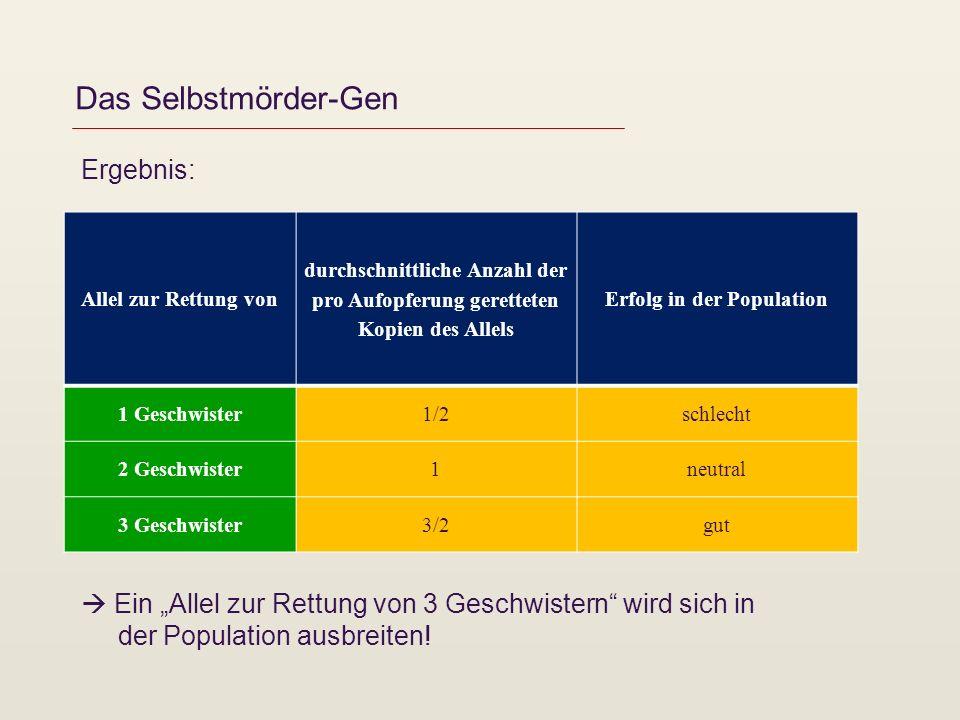 Das Selbstmörder-Gen Ergebnis: Allel zur Rettung von durchschnittliche Anzahl der pro Aufopferung geretteten Kopien des Allels Erfolg in der Populatio