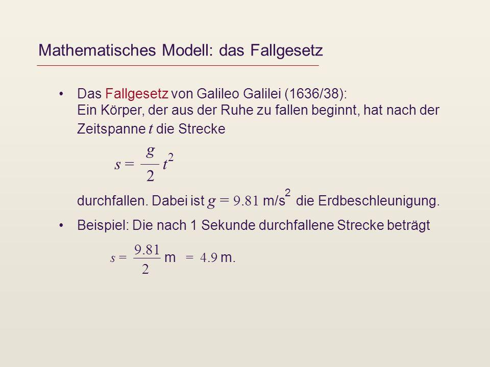 Mathematisches Modell: das Fallgesetz Das Fallgesetz von Galileo Galilei (1636/38): Ein Körper, der aus der Ruhe zu fallen beginnt, hat nach der Zeits