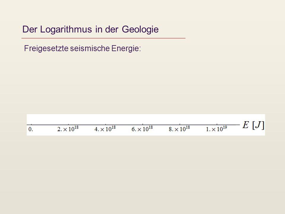 Der Logarithmus in der Geologie Freigesetzte seismische Energie: