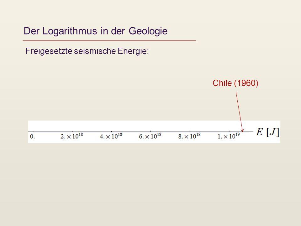 Der Logarithmus in der Geologie Freigesetzte seismische Energie: Chile (1960)