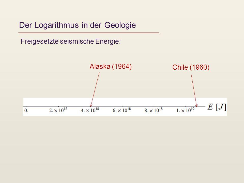 Der Logarithmus in der Geologie Freigesetzte seismische Energie: Chile (1960) Alaska (1964)