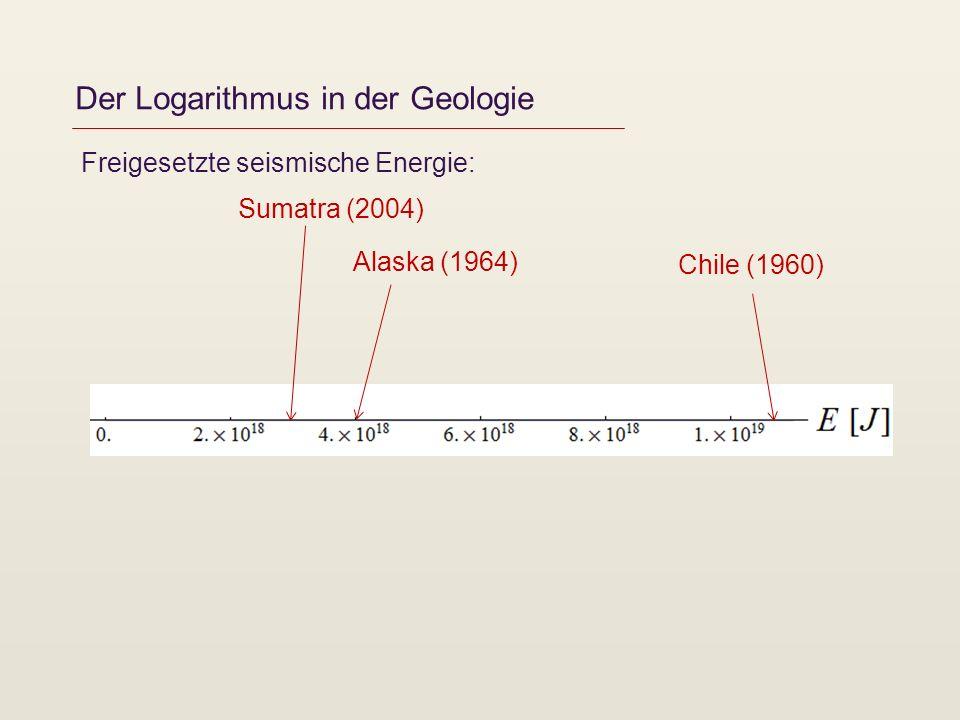 Der Logarithmus in der Geologie Freigesetzte seismische Energie: Chile (1960) Alaska (1964) Sumatra (2004)