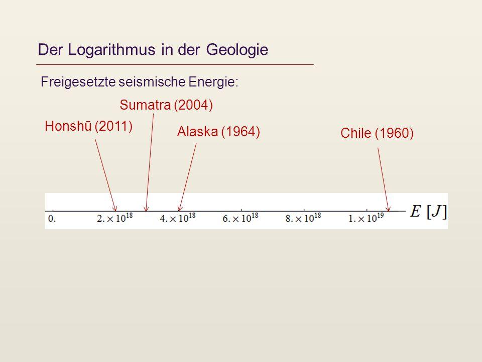 Der Logarithmus in der Geologie Freigesetzte seismische Energie: Chile (1960) Alaska (1964) Sumatra (2004) Honshū (2011)