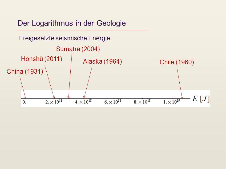 Der Logarithmus in der Geologie Freigesetzte seismische Energie: Chile (1960) Alaska (1964) Sumatra (2004) Honshū (2011) China (1931)