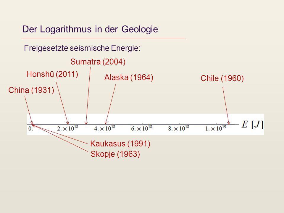 Der Logarithmus in der Geologie Freigesetzte seismische Energie: Chile (1960) Alaska (1964) Sumatra (2004) Honshū (2011) China (1931) Kaukasus (1991)
