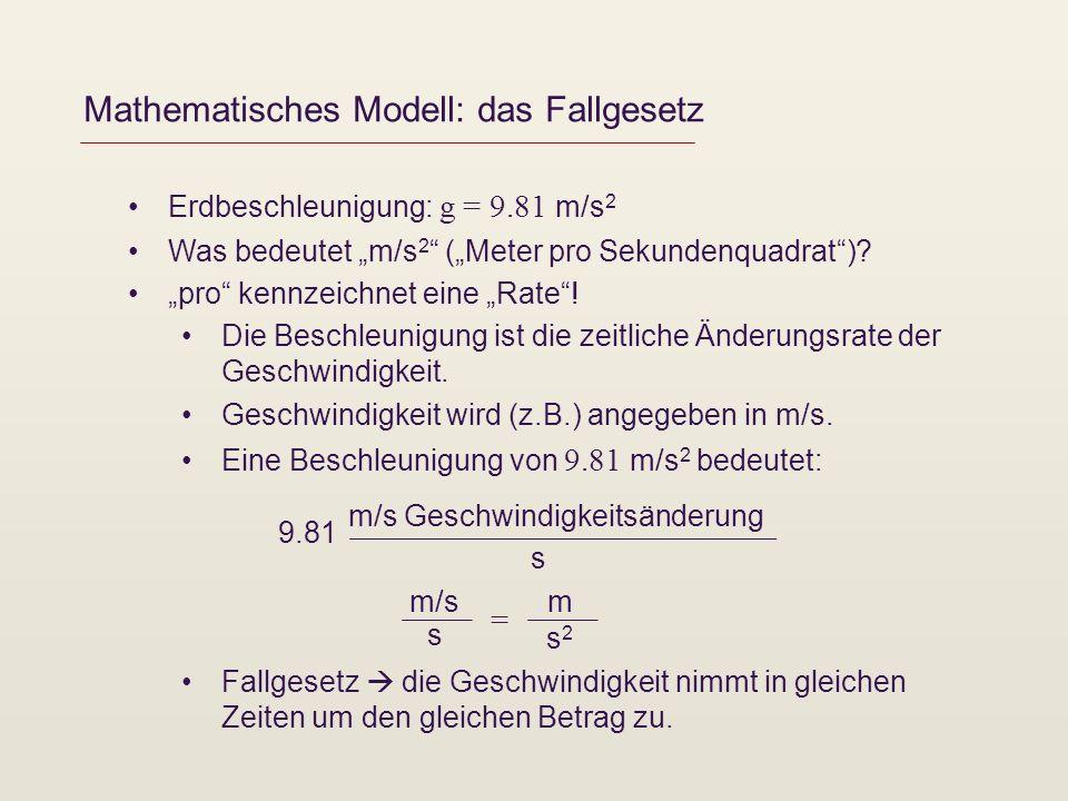 Mathematisches Modell: das Fallgesetz Erdbeschleunigung: g = 9.81 m/s 2 Was bedeutet m/s 2 (Meter pro Sekundenquadrat)? pro kennzeichnet eine Rate! Di