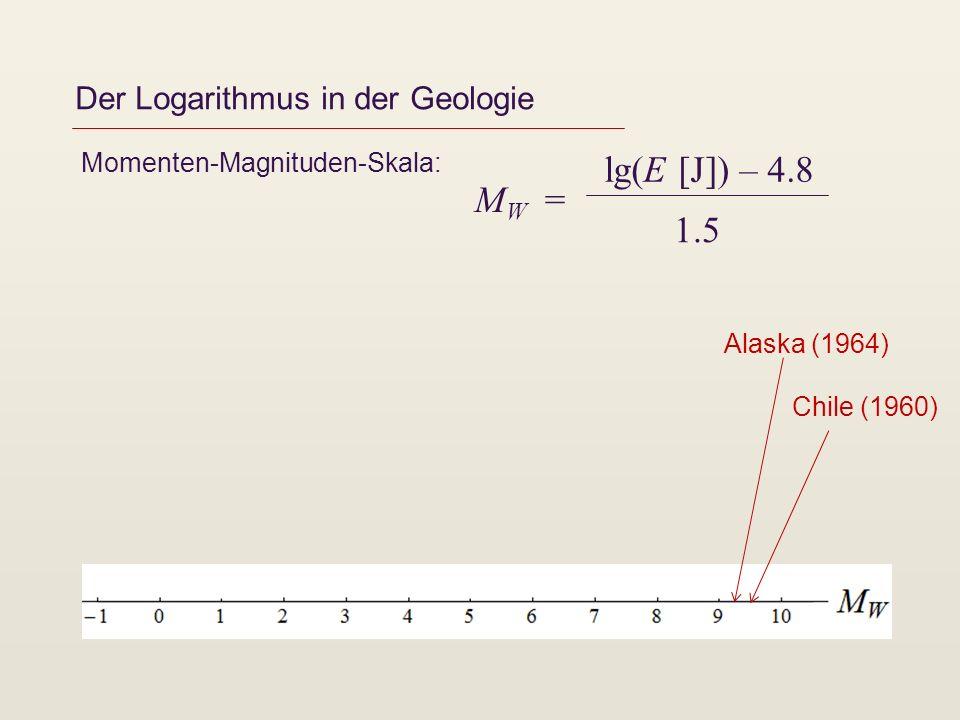 Der Logarithmus in der Geologie Momenten-Magnituden-Skala: M W = lg(E [J]) – 4.8 1.5 Chile (1960) Alaska (1964)