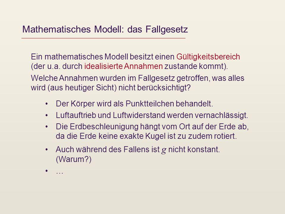 Mathematisches Modell: das Fallgesetz Ein mathematisches Modell besitzt einen Gültigkeitsbereich (der u.a. durch idealisierte Annahmen zustande kommt)