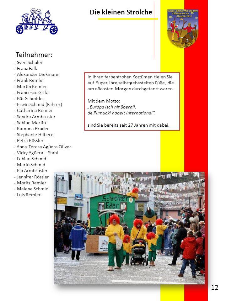 Die kleinen Strolche Teilnehmer: - Sven Schuler - Franz Falk - Alexander Diekmann - Frank Remler - Martin Remler - Francesco Grifa - Bär Schmider - Er