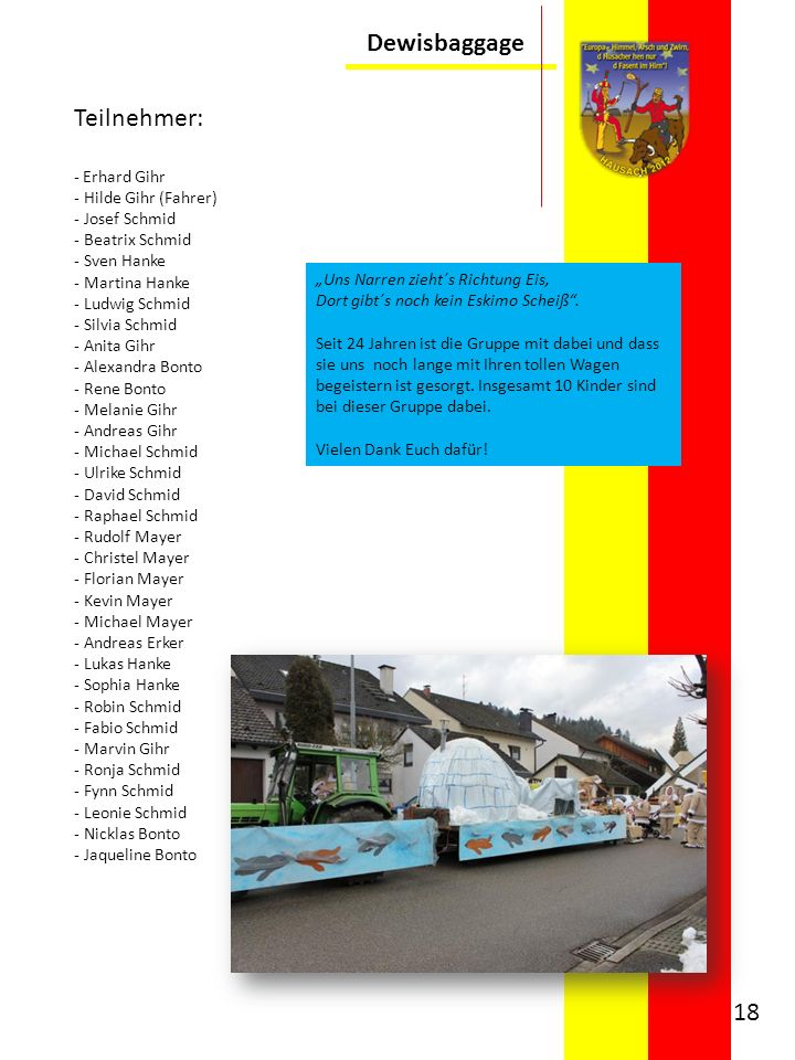Dewisbaggage Teilnehmer: - Erhard Gihr - Hilde Gihr (Fahrer) - Josef Schmid - Beatrix Schmid - Sven Hanke - Martina Hanke - Ludwig Schmid - Silvia Sch