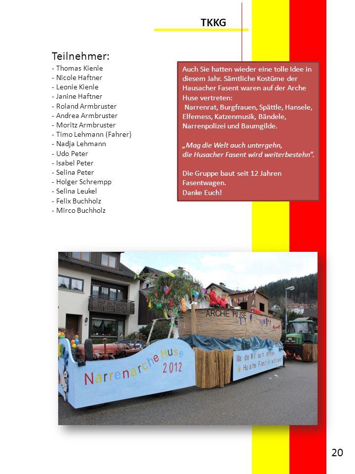 TKKG Teilnehmer: - Thomas Kienle - Nicole Haftner - Leonie Kienle - Janine Haftner - Roland Armbruster - Andrea Armbruster - Moritz Armbruster - Timo