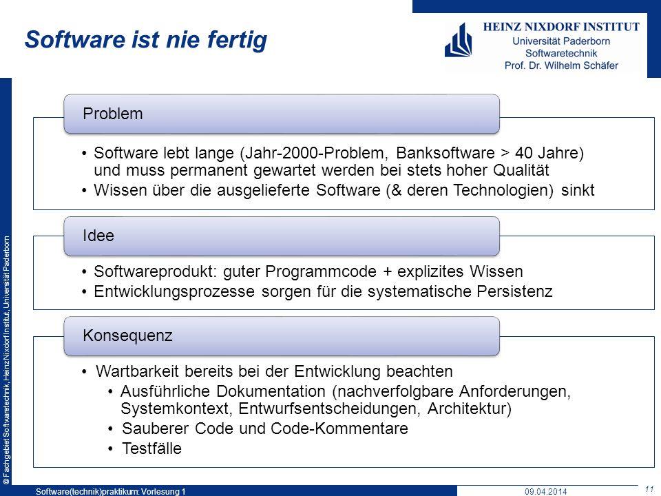 © Fachgebiet Softwaretechnik, Heinz Nixdorf Institut, Universität Paderborn Software ist nie fertig Software lebt lange (Jahr-2000-Problem, Banksoftwa