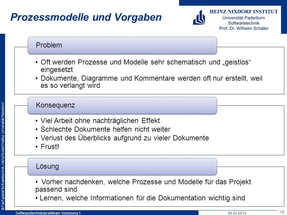 © Fachgebiet Softwaretechnik, Heinz Nixdorf Institut, Universität Paderborn Prozessmodelle und Vorgaben Oft werden Prozesse und Modelle sehr schematis
