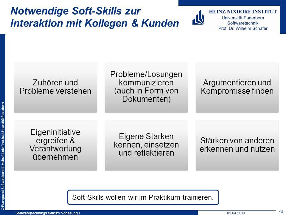 © Fachgebiet Softwaretechnik, Heinz Nixdorf Institut, Universität Paderborn Notwendige Soft-Skills zur Interaktion mit Kollegen & Kunden Zuhören und P