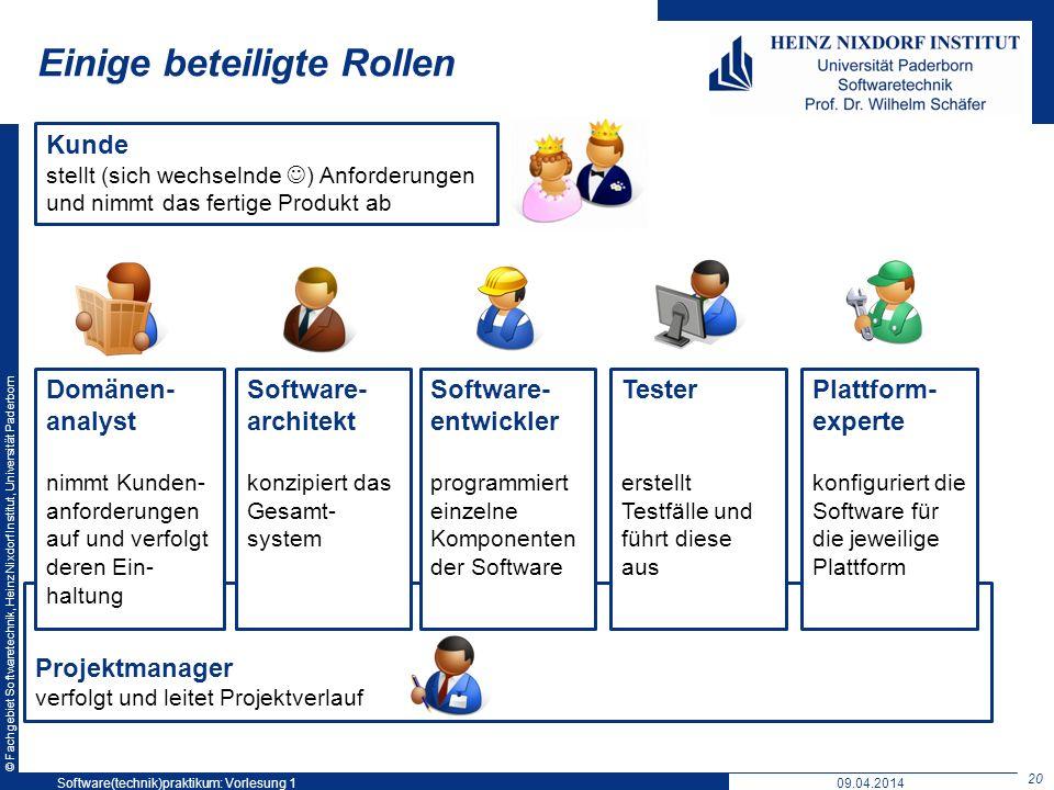 © Fachgebiet Softwaretechnik, Heinz Nixdorf Institut, Universität Paderborn Einige beteiligte Rollen 20 Software(technik)praktikum: Vorlesung 1 Projek