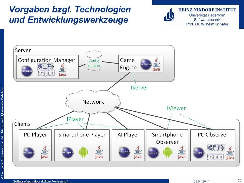 © Fachgebiet Softwaretechnik, Heinz Nixdorf Institut, Universität Paderborn Vorgaben bzgl. Technologien und Entwicklungswerkzeuge 28 Software(technik)