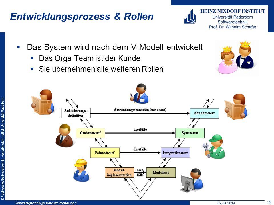 © Fachgebiet Softwaretechnik, Heinz Nixdorf Institut, Universität Paderborn Entwicklungsprozess & Rollen Das System wird nach dem V-Modell entwickelt