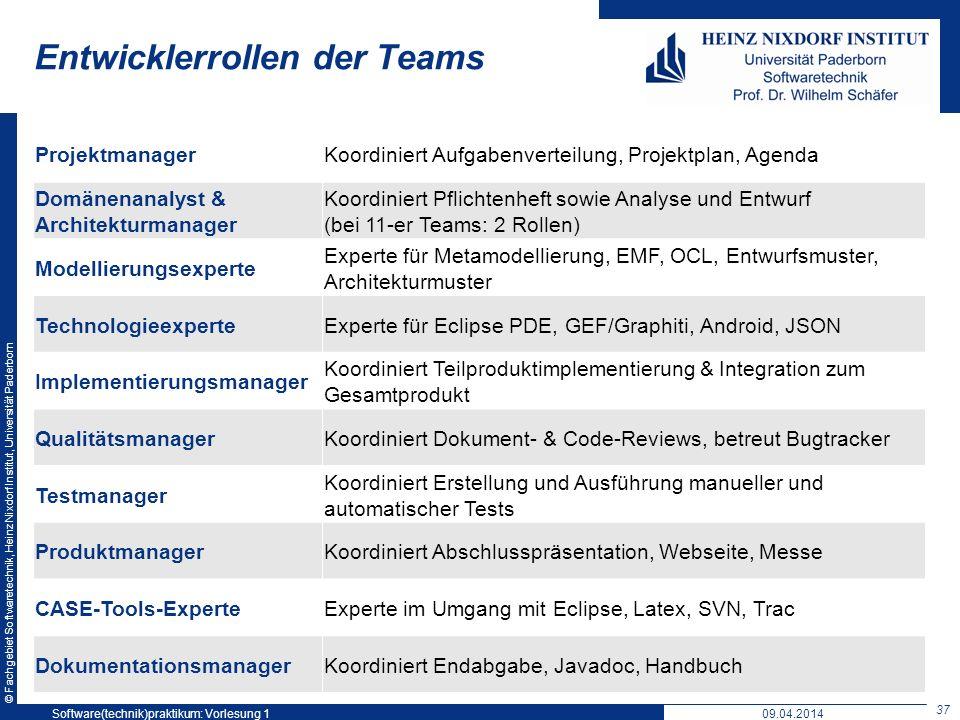 © Fachgebiet Softwaretechnik, Heinz Nixdorf Institut, Universität Paderborn Entwicklerrollen der Teams ProjektmanagerKoordiniert Aufgabenverteilung, P