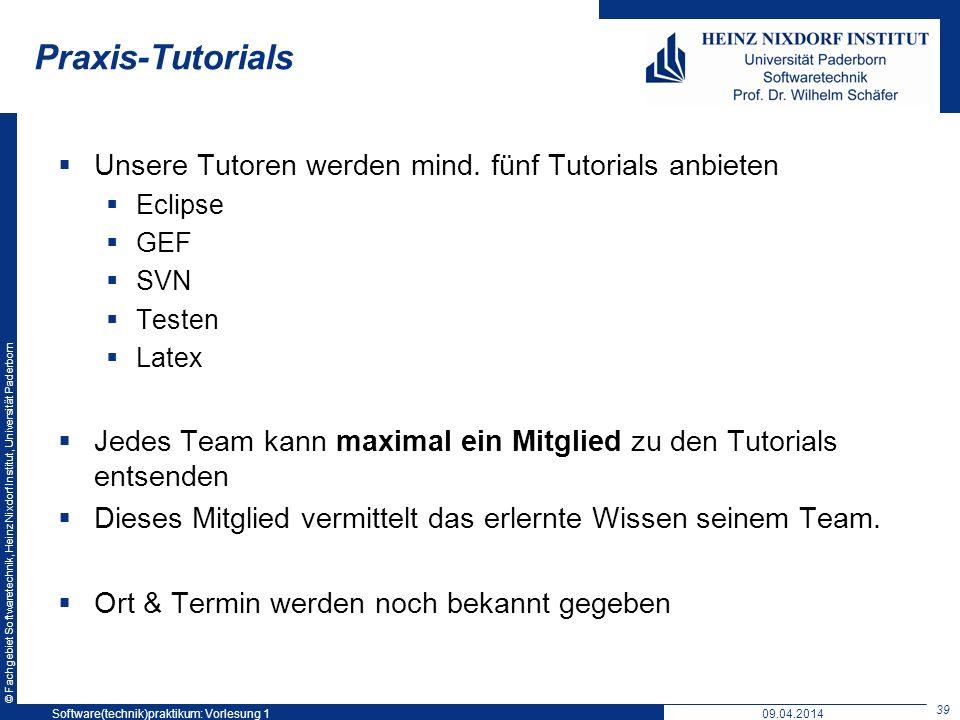 © Fachgebiet Softwaretechnik, Heinz Nixdorf Institut, Universität Paderborn Praxis-Tutorials Unsere Tutoren werden mind. fünf Tutorials anbieten Eclip