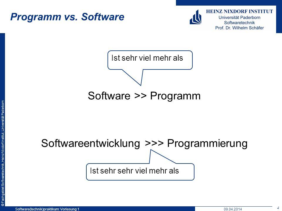 © Fachgebiet Softwaretechnik, Heinz Nixdorf Institut, Universität Paderborn Programm vs. Software Software >> Programm Softwareentwicklung >>> Program