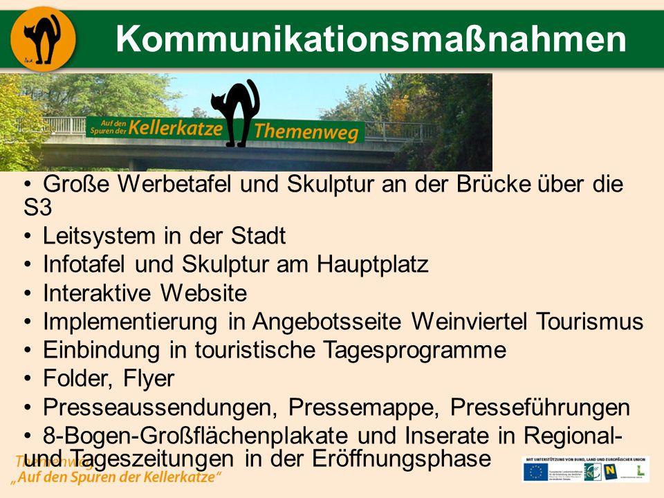 Kommunikationsmaßnahmen Große Werbetafel und Skulptur an der Brücke über die S3 Leitsystem in der Stadt Infotafel und Skulptur am Hauptplatz Interakti