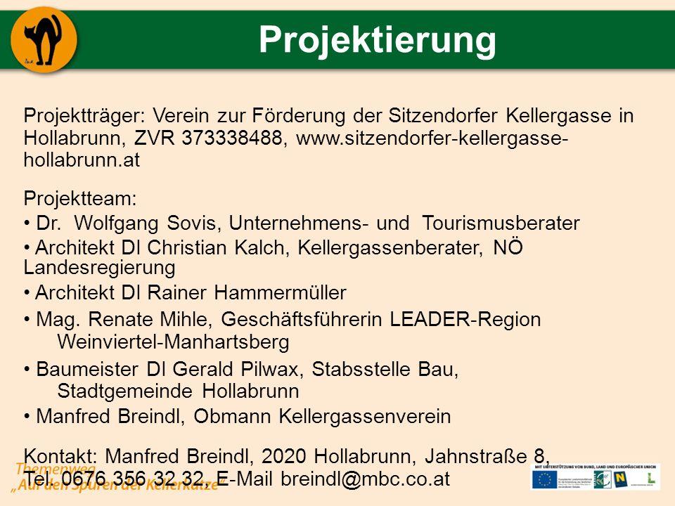 Projektierung Projektträger: Verein zur Förderung der Sitzendorfer Kellergasse in Hollabrunn, ZVR 373338488, www.sitzendorfer-kellergasse- hollabrunn.