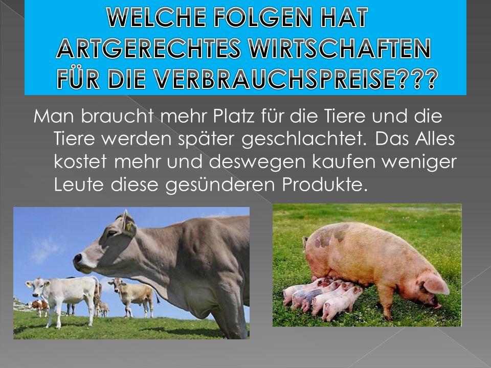 Man braucht mehr Platz für die Tiere und die Tiere werden später geschlachtet. Das Alles kostet mehr und deswegen kaufen weniger Leute diese gesündere