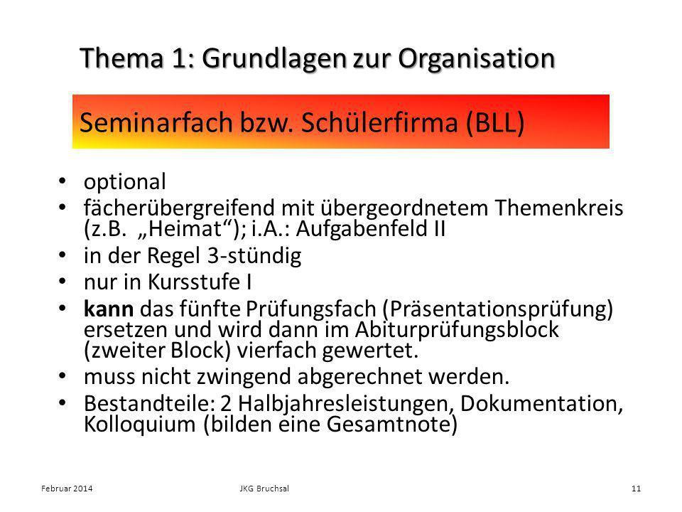 Seminarfach bzw. Schülerfirma (BLL) optional fächerübergreifend mit übergeordnetem Themenkreis (z.B. Heimat); i.A.: Aufgabenfeld II in der Regel 3-stü