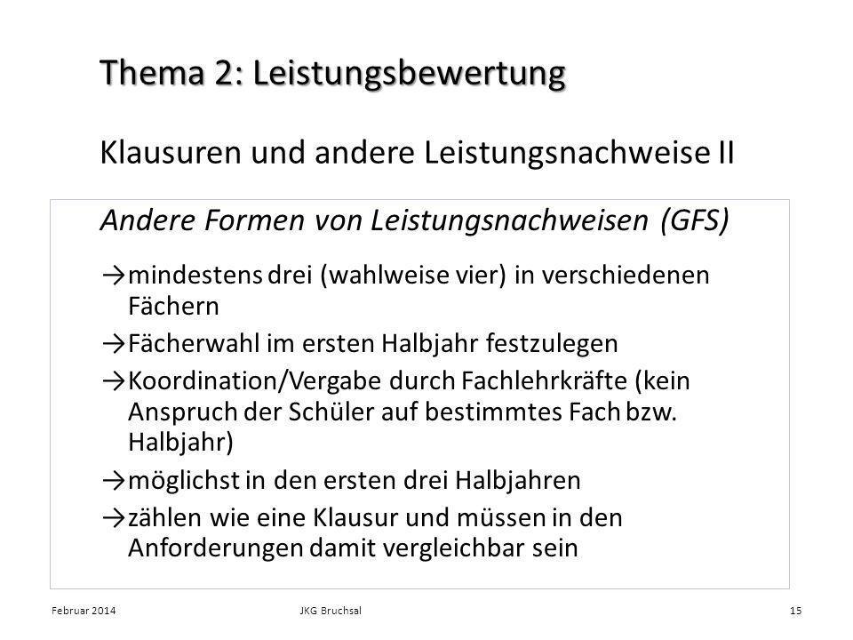Klausuren und andere Leistungsnachweise II Andere Formen von Leistungsnachweisen (GFS) mindestens drei (wahlweise vier) in verschiedenen Fächern Fäche