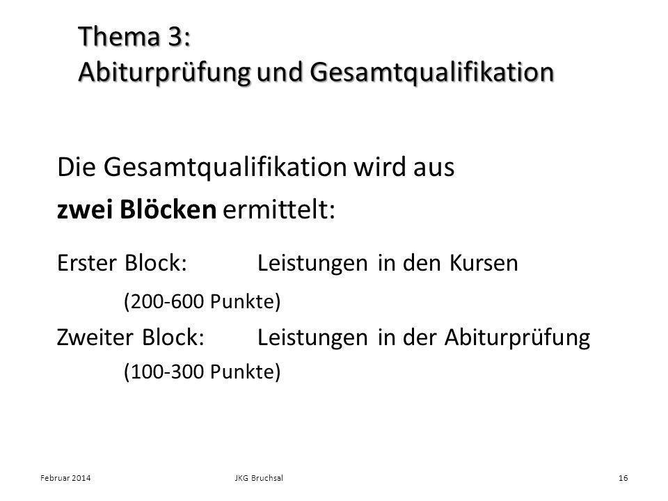 Thema 3: Abiturprüfung und Gesamtqualifikation Die Gesamtqualifikation wird aus zwei Blöcken ermittelt: Erster Block: Leistungen in den Kursen (200-60