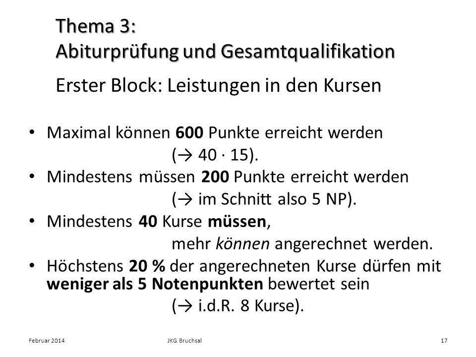 Erster Block: Leistungen in den Kursen Maximal können 600 Punkte erreicht werden ( 40 · 15). Mindestens müssen 200 Punkte erreicht werden ( im Schnitt