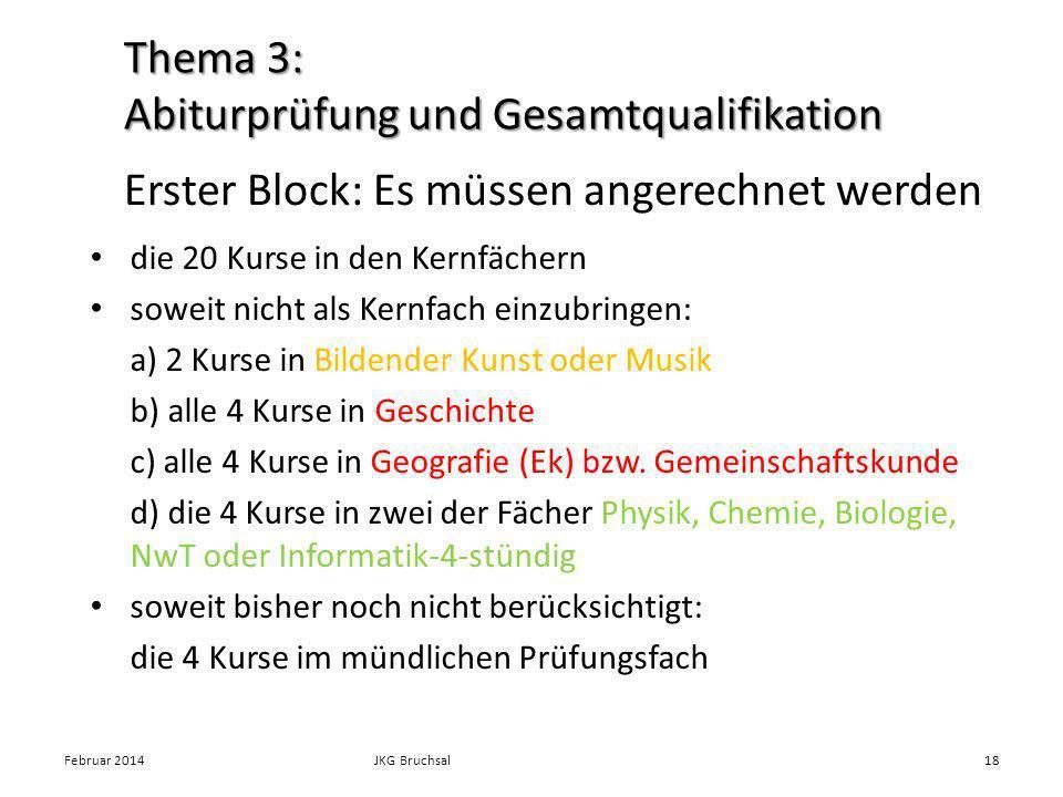 die 20 Kurse in den Kernfächern soweit nicht als Kernfach einzubringen: a) 2 Kurse in Bildender Kunst oder Musik b) alle 4 Kurse in Geschichte c) alle