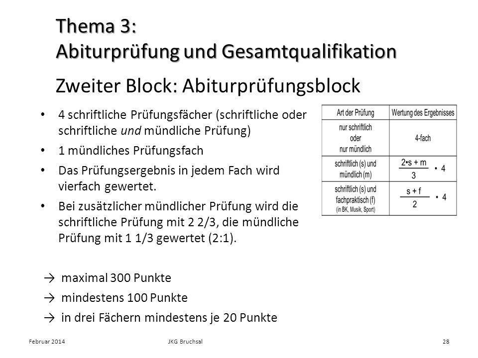 Zweiter Block: Abiturprüfungsblock 4 schriftliche Prüfungsfächer (schriftliche oder schriftliche und mündliche Prüfung) 1 mündliches Prüfungsfach Das Prüfungsergebnis in jedem Fach wird vierfach gewertet.