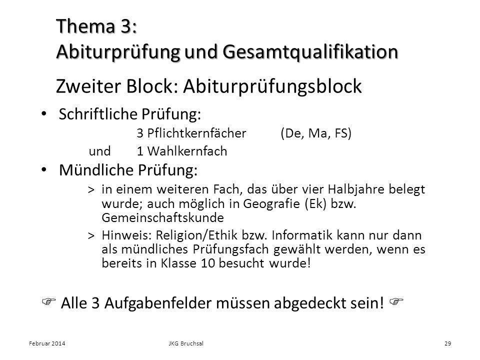 Zweiter Block: Abiturprüfungsblock Schriftliche Prüfung: 3 Pflichtkernfächer(De, Ma, FS) und1 Wahlkernfach Mündliche Prüfung: >in einem weiteren Fach, das über vier Halbjahre belegt wurde; auch möglich in Geografie (Ek) bzw.