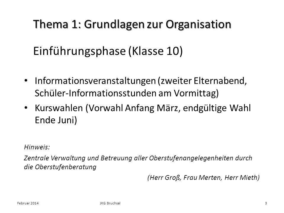 Thema 1: Grundlagen zur Organisation Informationsveranstaltungen (zweiter Elternabend, Schüler-Informationsstunden am Vormittag) Kurswahlen (Vorwahl A