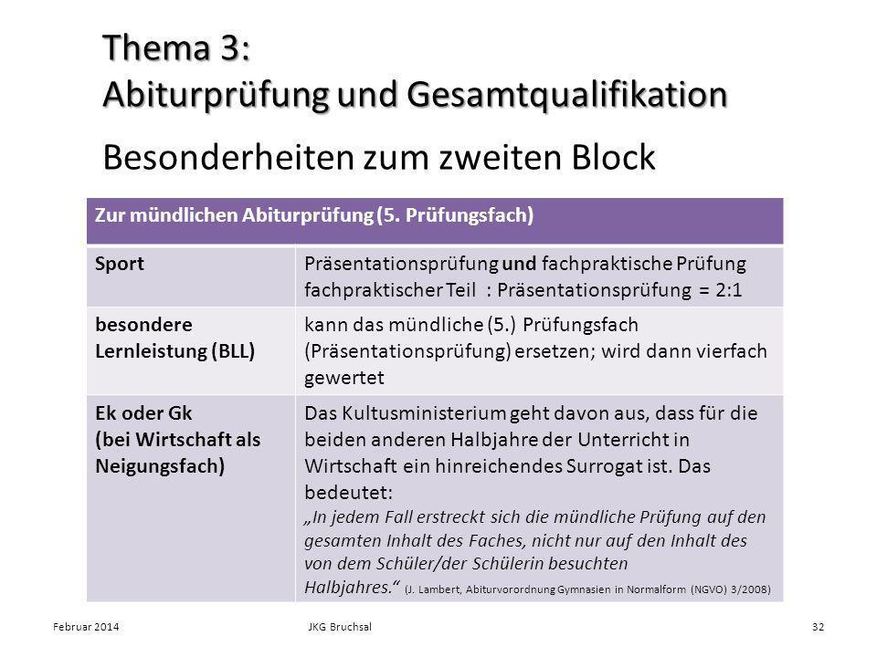 Besonderheiten zum zweiten Block Februar 2014JKG Bruchsal32 Zur mündlichen Abiturprüfung (5. Prüfungsfach) SportPräsentationsprüfung und fachpraktisch